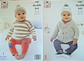 Sweater,Jacket and Hats , King Cole Knitting Pattern -5488
